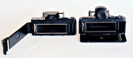Fuji G617, left and Fuji GX617 on the right, showing the different film door arrangements