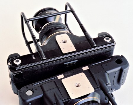 Fuji G617 and Fuji GX617 panoramic cameras back to back