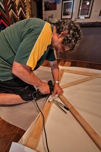 Nigel Stretching the 4m canvas onto the custom made frame