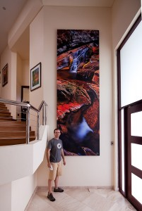 The 4m vertical photographic image on the wall at last