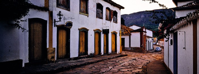 Typical street in the town of Tiradentes in Minas Gereis, Brasil