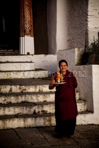 Buddhist Monk in Trongsa Dzong Bhutan.  Bhutan Photo tour with Adam monk