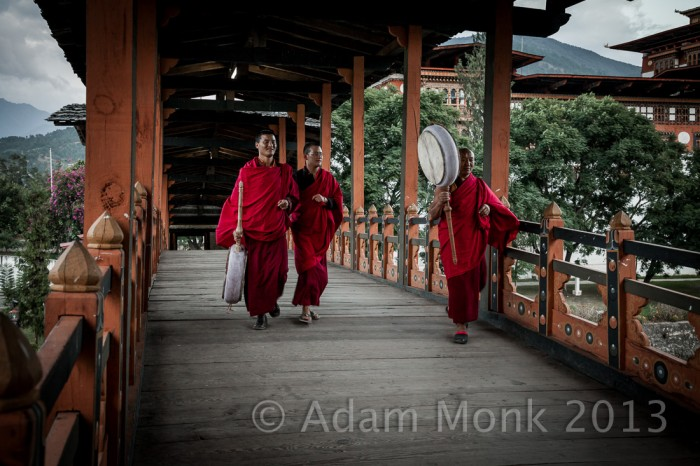 Monks of Punhaka Dzong in Bhutan