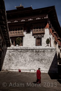 Monks of Trongsa Dzong in Bhutan