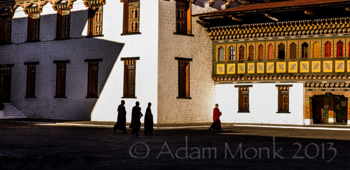 Monks of Thimpu Dzong in Bhutan, Photo tour of Bhutan with Adam Monk
