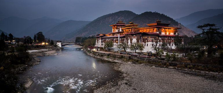 Bhutan Photo Tour with Adam Monk. Punakha Dzong twilight