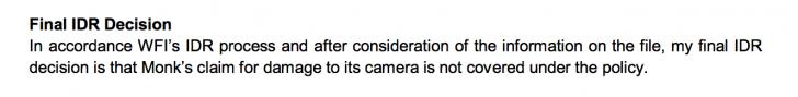 camera insurance company final decision