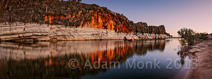 Panoramic Image of Geikie Gorge at Twilight, Fitzroy Crossing, Kimberley Region of Western Australia