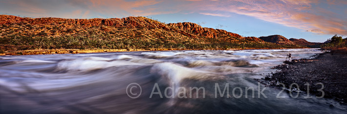 Panoramic photographic Image of Spillway Creek in flood, gushing out of Lake Argyle in the Carr Boyde Ranges, East Kimberley Region of Western Australia