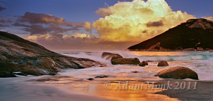 2:1 Panoramic Image of Little Beach at sunset in Albany, on the South Coast of Western Australia